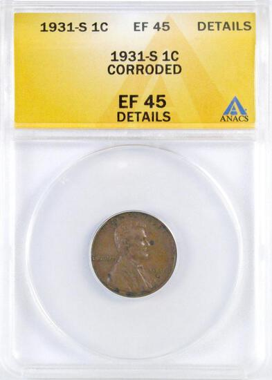 1931 S Lincoln Wheat Cent (ANACS) EF45 Details.