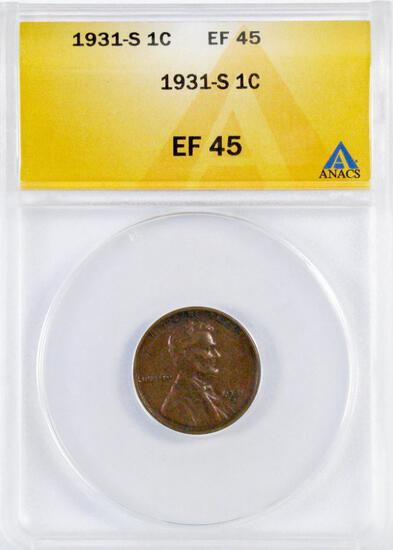 1931 S Lincoln Wheat Cent (ANACS) EF45.