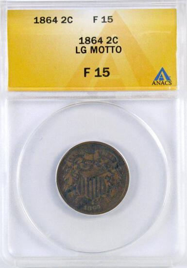 1864 LM Two Cent Piece (ANACS) F15.