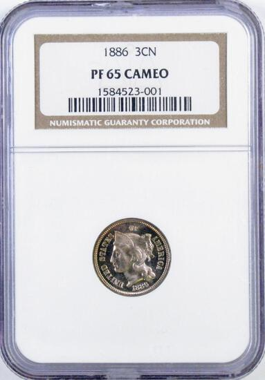 1886 Three Cent Piece Nickel (NGC) PF65 Cameo.