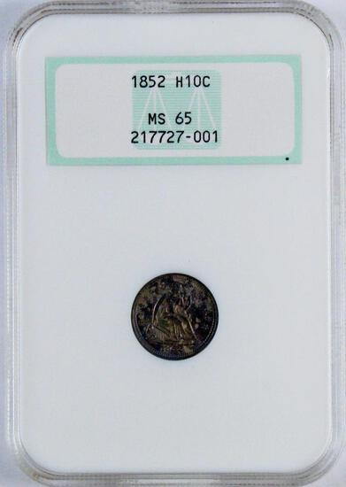 1852 P Seated Liberty Silver Half Dime (NGC) MS65.