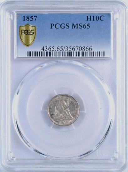 1857 Seated Liberty Silver Half Dime (PCGS) MS65.