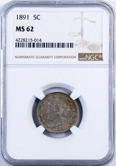 1891 Liberty Head Nickel (NGC) MS62.