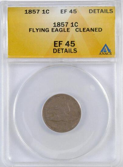 1857 Flying Eagle Cent (ANACS) EF45 Details.