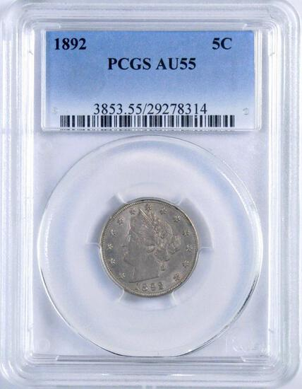 1892 Liberty Head Nickel (PCGS) AU55.