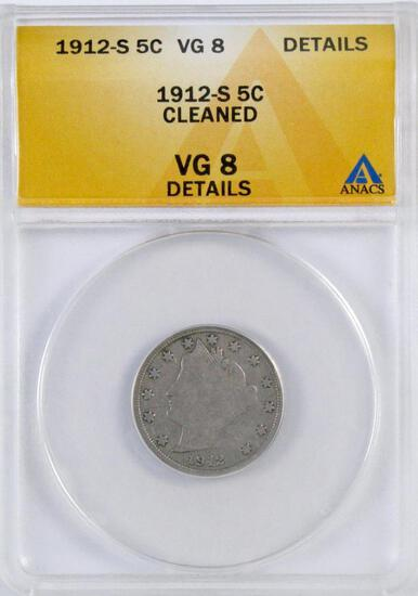 1912 S Liberty Head Nickel (ANACS) VG8 Details.