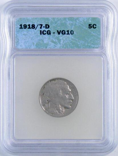 1918/7 D Buffalo Nickel (ICG) VG10.