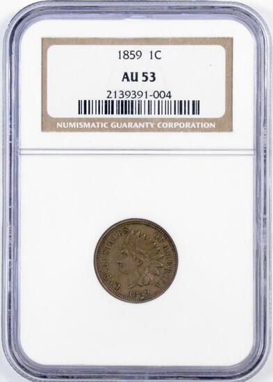 1859 CN Indian Head Cent (NGC) AU53.