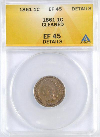 1861 CN Indian Head Cents (ANACS) EF45 Details.