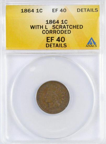 1864 L Indian Head Cent (ANACS) EF40 Details.