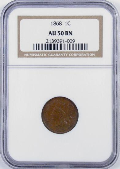 1868 Indian Head Cent (NGC) AU50BN.