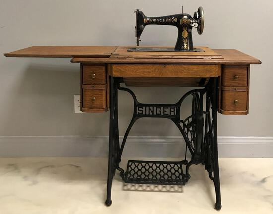 Vintage Singer Treadle Cabinet Sewing Machine