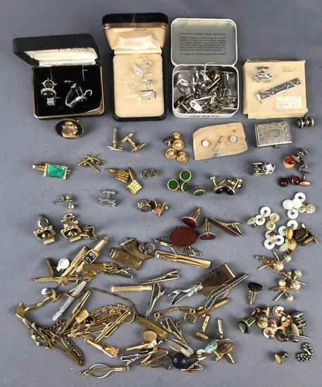 Group of 100+ pieces Studs, Cuff Links, Tie Bars and more