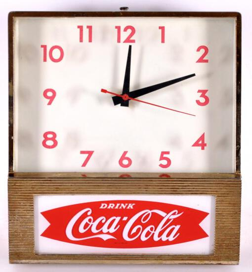 Vintage Coca Cola Double Fish Tail Light Up Advertising Clock