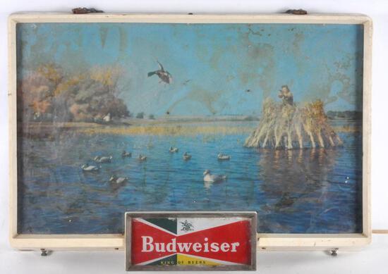 Vintage Budweiser Duck Blind/Hunting Light Up Advertising Beer Sign