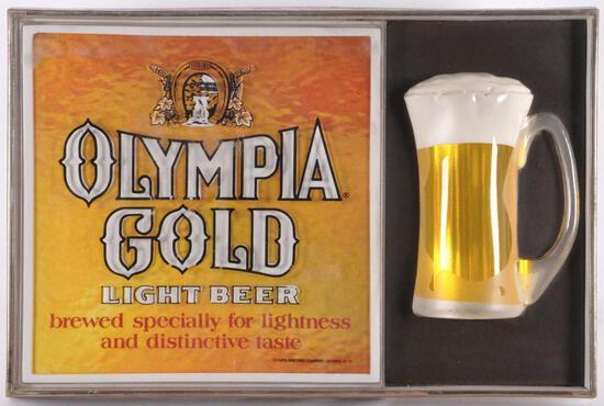 Vintage Olympia Gold Light Beer Light Up Advertising Bubbler Motion Beer Sign
