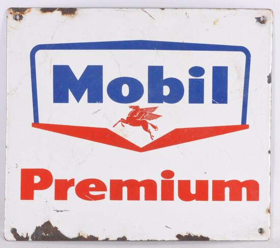 Vintage Mobil Premium Porcelain Pump Plate Sign