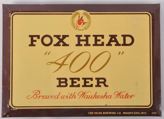 """Vintage Fox """"400"""" Beer Tin on Cardboard Advertising Beer Sign"""