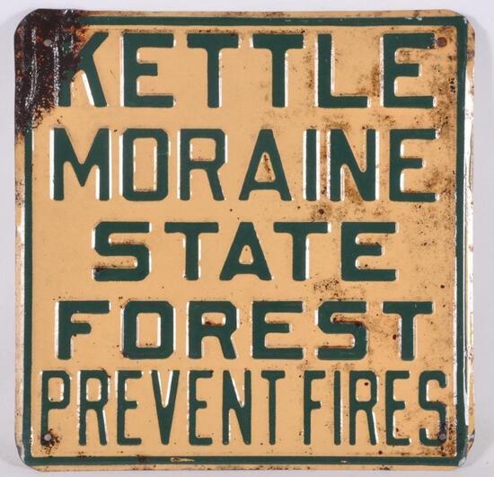 Vintage Kettle Moraine State Forest Prevent Fires Metal Sign