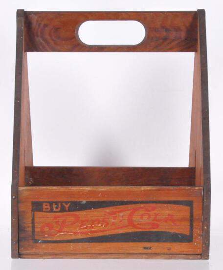 Vintage Pepsi Cola Wooden 6 Pack Carry Case