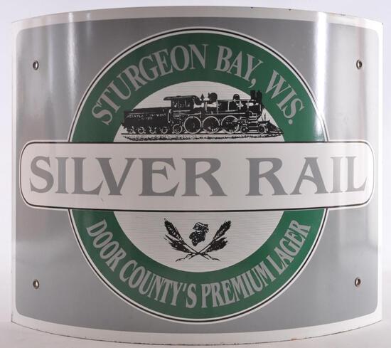 Sturgeon Bay Wis. Door County Silver Rail Advertising Porcelain Beer Sign