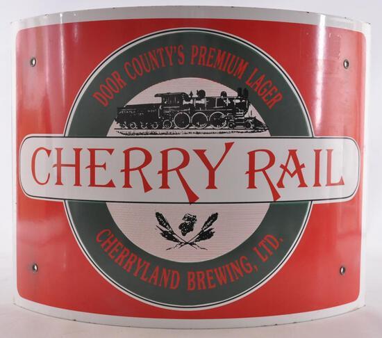 Cherryland Brewing Door County Cherry Rail Advertising Porcelain Beer Sign