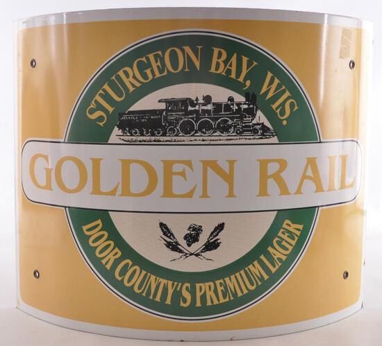 Sturgeon Bay Wis. Door County Golden Rail Advertising Porcelain Beer Sign
