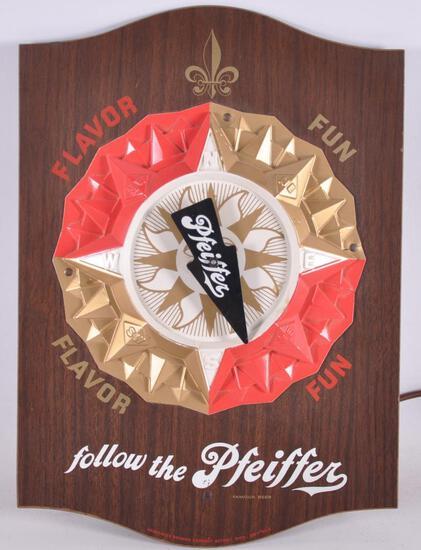 Vintage Pfeiffer Advertising Motion Beer Sign