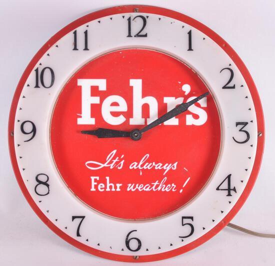 Vintage Fehr's Advertising Light Up Beer Clock