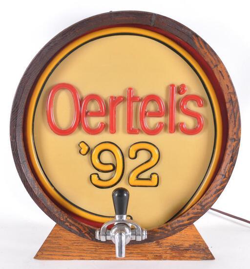 Oertel's '92 Light Up Advertising Half Barrel Beer Sign