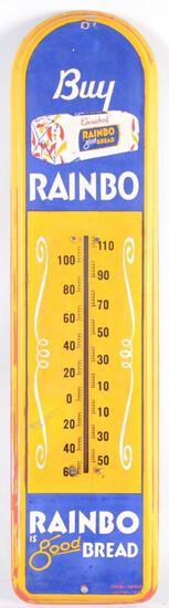Vintage Buy Rainbo Bread Advertising Metal Thermometer