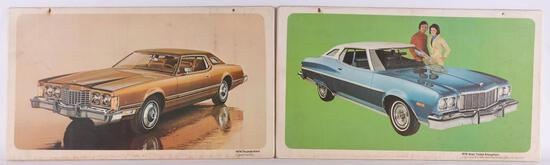 Group of 2 Vintage Ford Advertising Plastic Signs