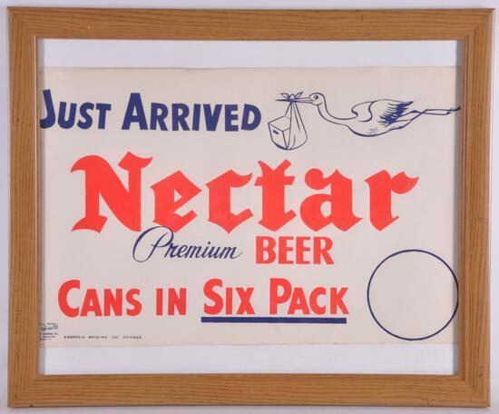 Vintage Nectar Premium Beer Framed Advertising Poster