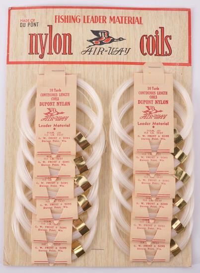 Vintage Du Pont Air-Way Nylon Coils Fishing Line Store Display with Original Envelope