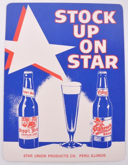 Vintage Star Model Pilsner Advertising Cardboard Countertop Beer Sign