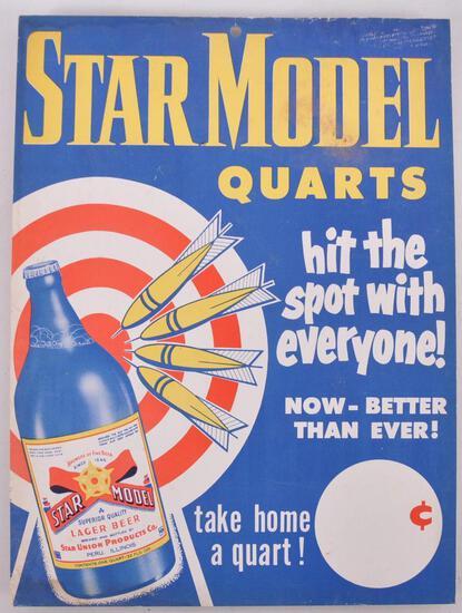 Vintage Star Model Lager Advertising Cardboard Beer Sign