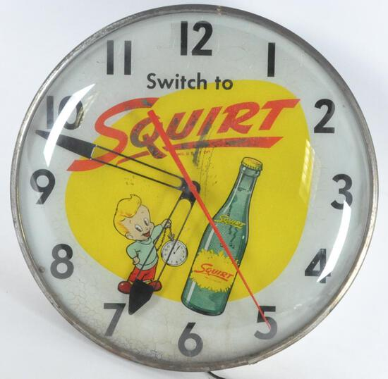 Vintage Squirt Advertising Light Up Clock