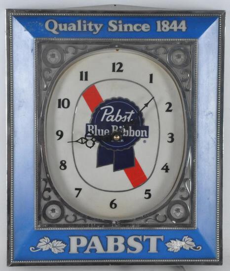 Vintage Pabst Blue Ribbon Light Up Advertising Beer Clock