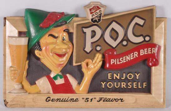 """Vintage P.O.C. """"Pride of Cleveland"""" Pilsner Beer Advertising Beer Sign"""