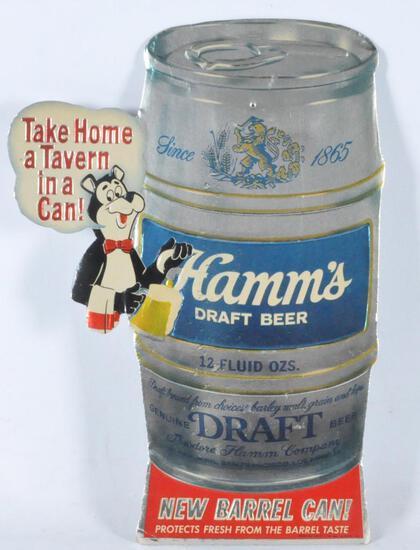 Vintage Hamm's Beer Barrel Can Die Cut Advertising Cardboard Sign