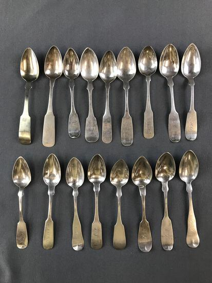 Group of 17 antique sterling or coin silver fiddleback spoons
