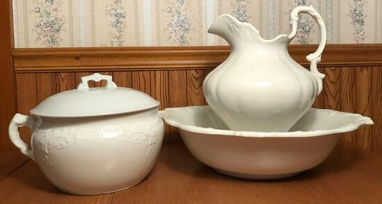 Antique Utah Pottery Chamber Pot, W.H. Grindley & Co Pitcher and Bowl