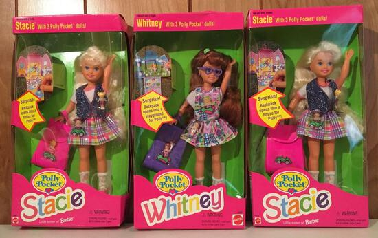 Group of 3 Sealed Polly Pocket Stacie and Whitney Barbie Dolls