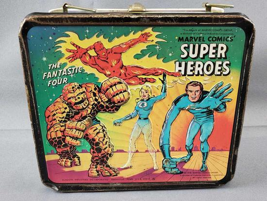 Vintage Marvel Comics Super Heroes Metal Lunch Box and Thermos