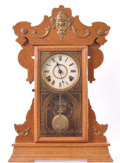 Antique Oak Kitchen Clock with Ornate Decor