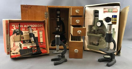 Group of 5 vintage microscopes