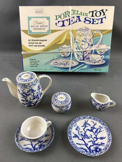 Set of 2 complete vintage toy tea sets, Sears