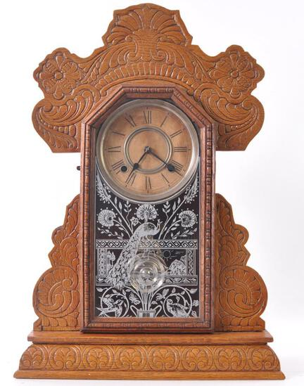Antique Ansonia Clock Co. Oak Kitchen Clock with Ornate Cravings