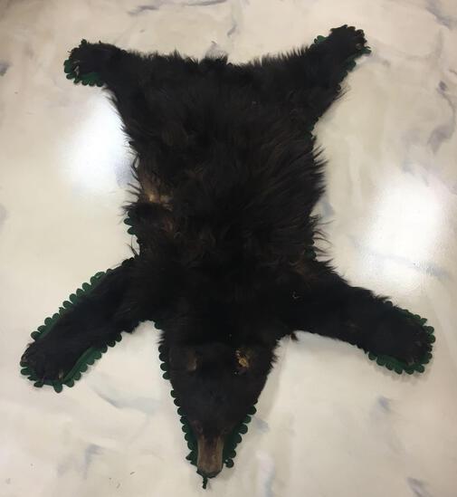 Vintage Black Bear Taxidermy Rug