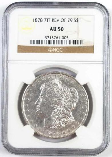1878 7TF Rev of 79 Morgan Silver Dollar (NGC) AU50.